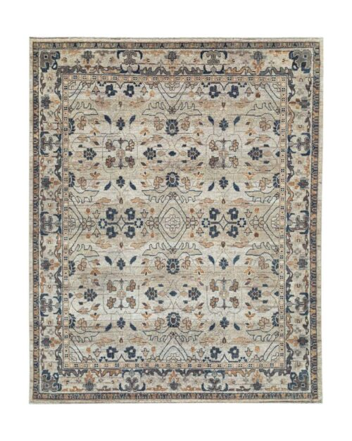 Kasuri Hand-Knotted Rug - Natural & Charcoal / 8' x 10'