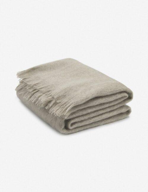 Aimee Mohair Throw, Warm Gray