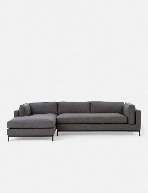 Fritzie Left-Facing Sectional Sofa, Charcoal
