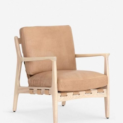 Kenneth Leather Accent Chair, Sahara Tan
