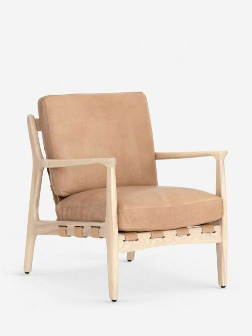 Kenneth Leather Accent Chair, Sahara Tan
