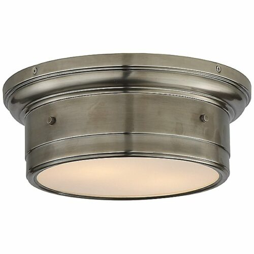 Siena Flush Mount Ceiling Light by Visual Comfort - Color: White - Finish: Antique Nickel - (SS 4015AN-WG)