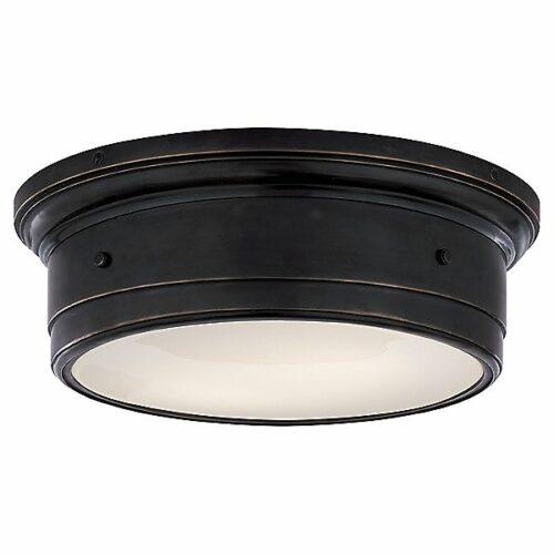 Siena Flush Mount Ceiling Light by Visual Comfort - Color: White - Finish: Bronze - (SS 4016BZ-WG)