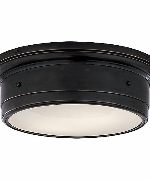 Siena Flush Mount Ceiling Light by Visual Comfort - Color: White - Finish: Bronze - (SS 4016BZ-WG)