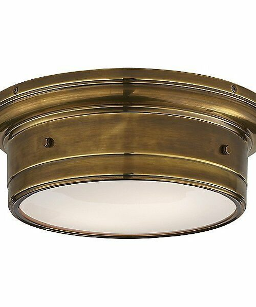 Siena Flush Mount Ceiling Light by Visual Comfort - Color: White - Finish: Hand-Rubbed Antique Brass - (SS 4015HAB-WG)