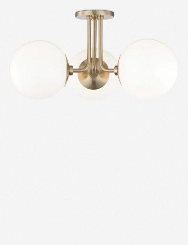 Lia 3-Light Semi-Flush Mount Light, Aged Brass