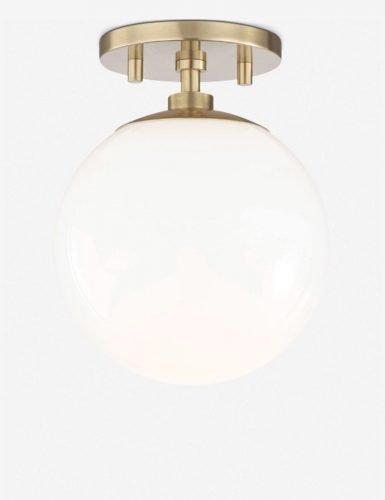 Lia Semi-Flush Mount Light, Aged Brass