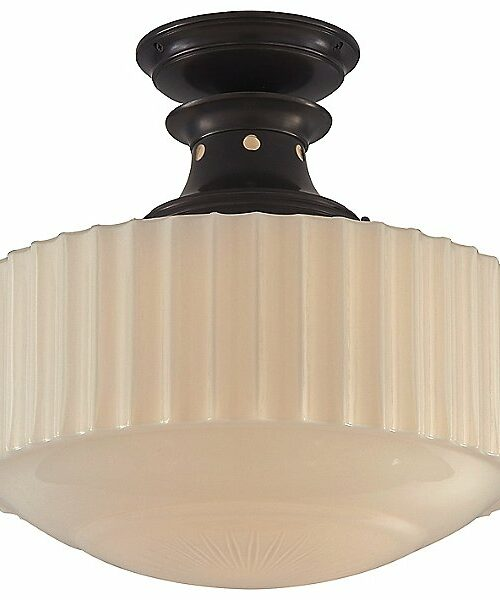Milton Road Convertible Flush Mount Ceiling Light by Visual Comfort - Color: White - Finish: Bronze - (TOB 5150BZ-WG)