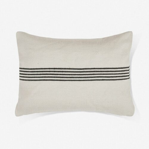 Katya Indoor / Outdoor Lumbar Pillow, Black Stripe