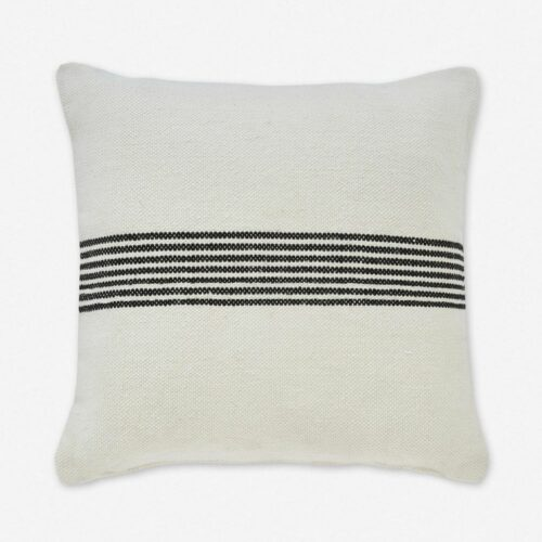 Katya Indoor / Outdoor Pillow, Black Stripe