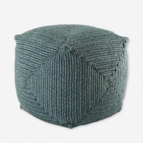 Kiley Indoor / Outdoor Pouf, Shale Blue