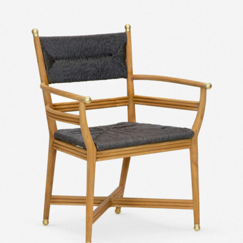 Morris & Co. Kelmscott Rush Indoor / Outdoor Dining Arm Chair, Black