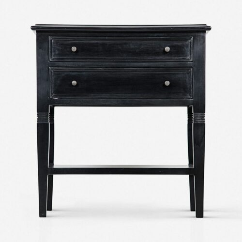Luna 2-Drawer Nightstand, Hand Rubbed Black