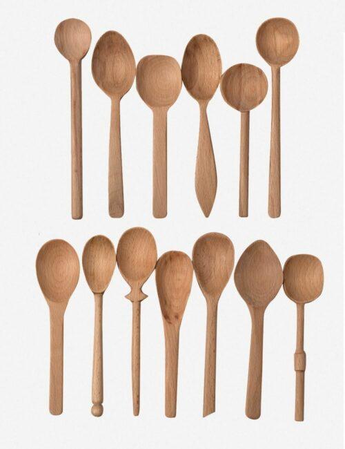 Baker's Dozen Assorted Small Wood Spoons, Beechwood
