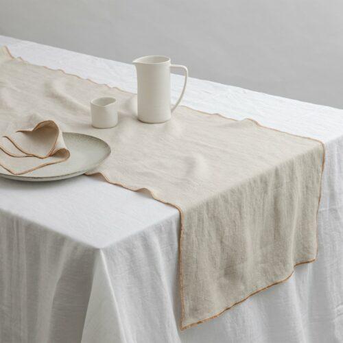 Cara Edged Table Runner - Natural