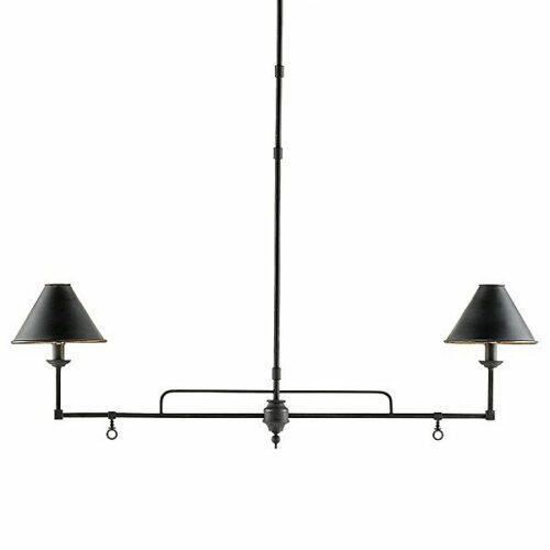 Currey & Company Prosperity Linear Chandelier - Color: Black - Size: 2 light - 9000-0114
