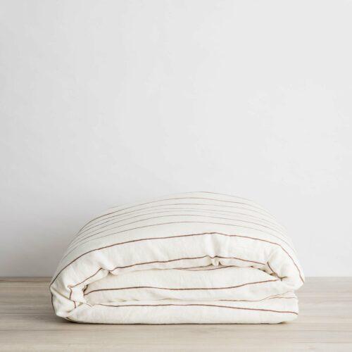 Linen Duvet Cover - Cedar Stripe
