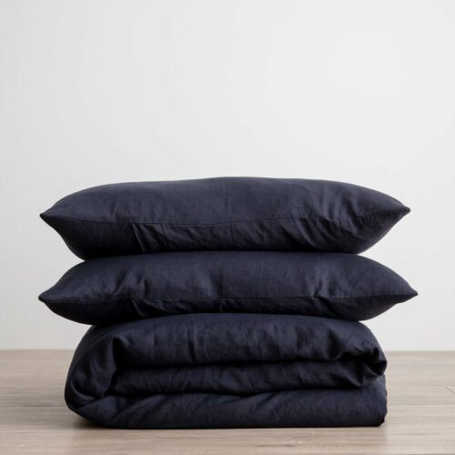 Linen Duvet Cover Set - Navy
