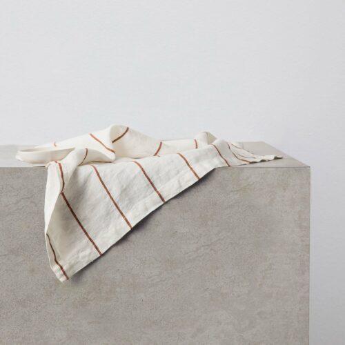 Linen Table Napkins - Cedar Stripe