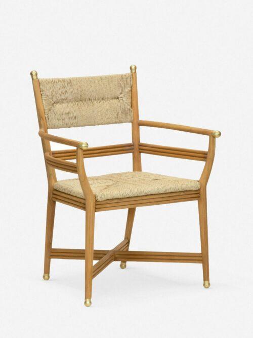 Morris & Co. Kelmscott Rush Indoor / Outdoor Dining Arm Chair, Natural