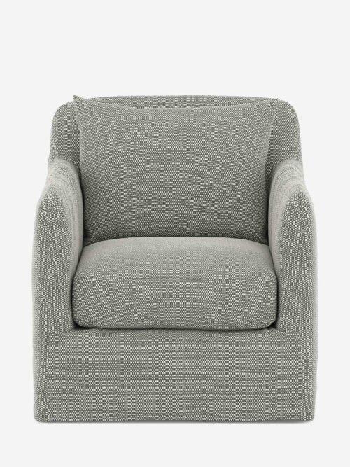 Orlena Outdoor Swivel Chair, Faye Ash