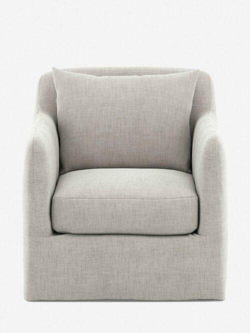 Orlena Outdoor Swivel Chair, Stone Grey