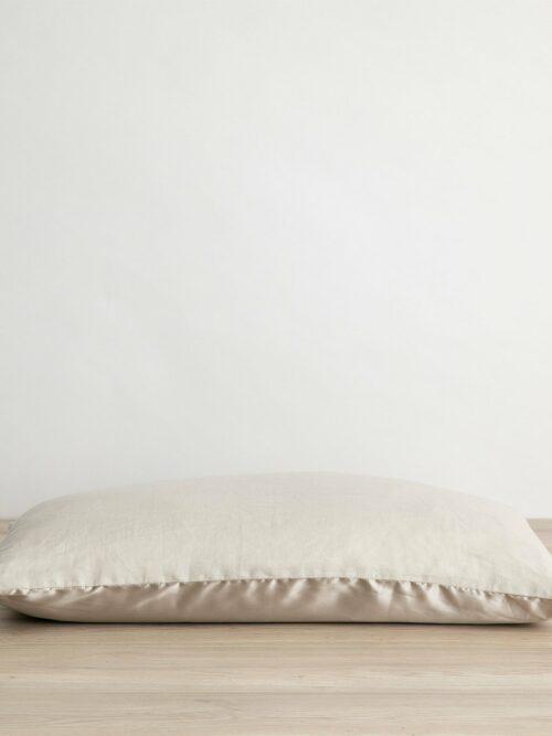 Silk Linen Flip Pillowcase - Smoke Gray